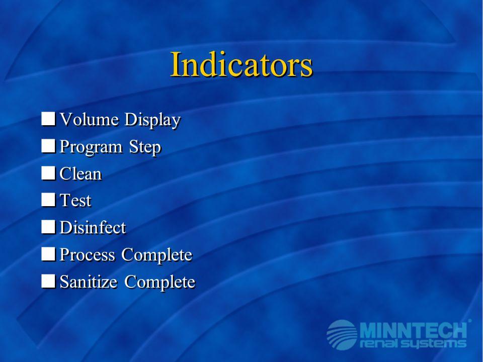 Indicators Volume Display Program Step Clean Test Disinfect