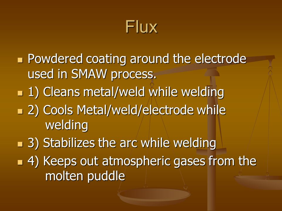 Flux Powdered coating around the electrode used in SMAW process.