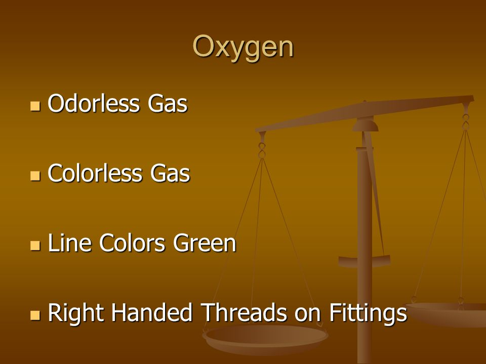Oxygen Odorless Gas Colorless Gas Line Colors Green