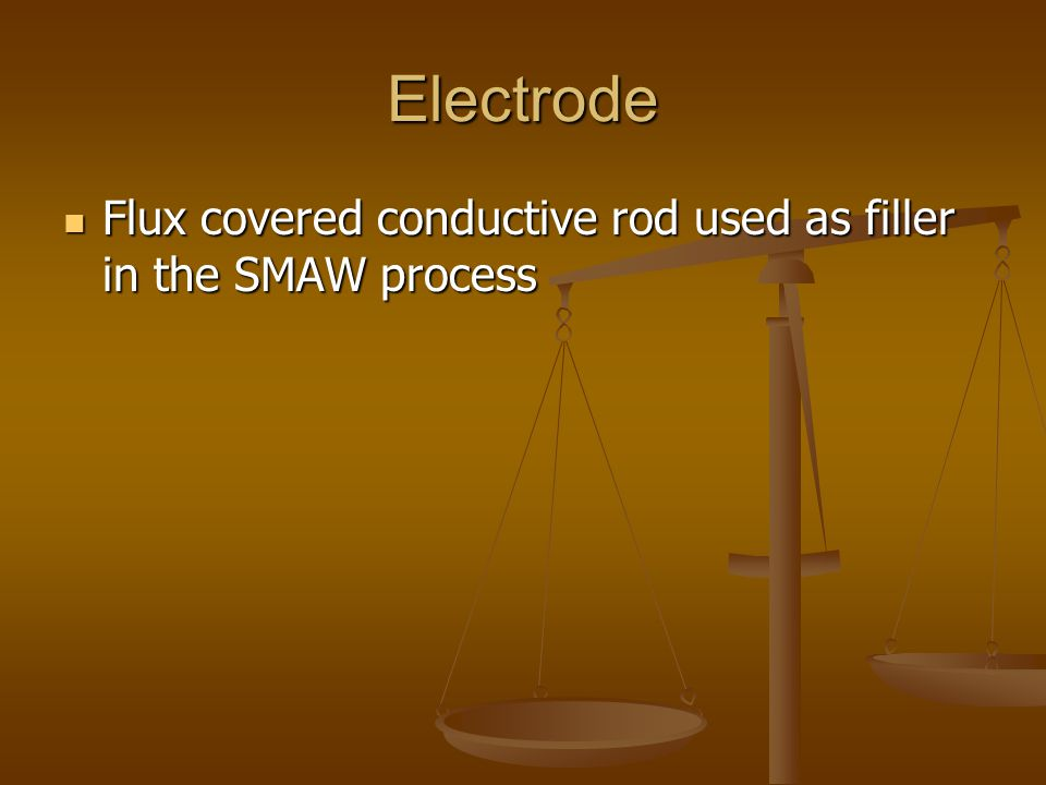 Electrode Flux covered conductive rod used as filler in the SMAW process