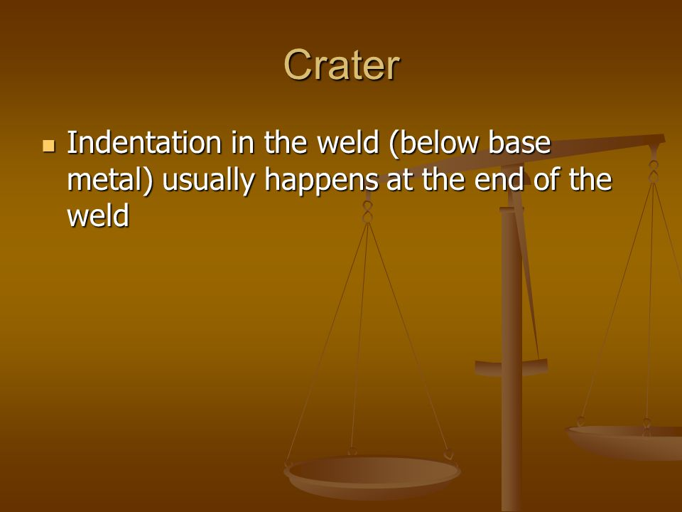 Crater Indentation in the weld (below base metal) usually happens at the end of the weld