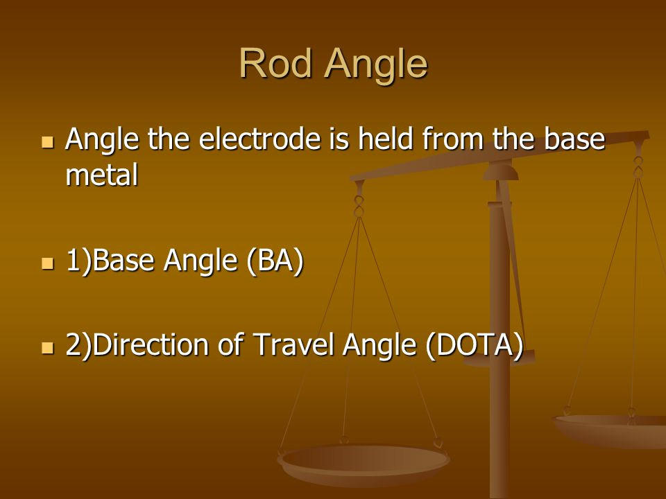 Rod Angle Angle the electrode is held from the base metal