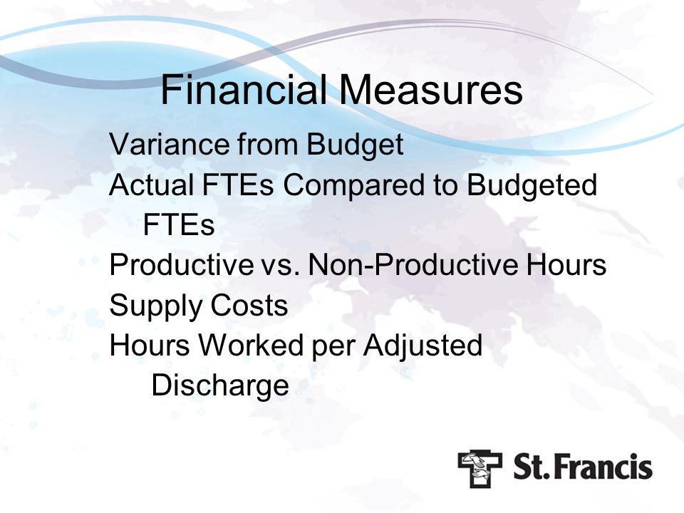 Financial Measures Variance from Budget