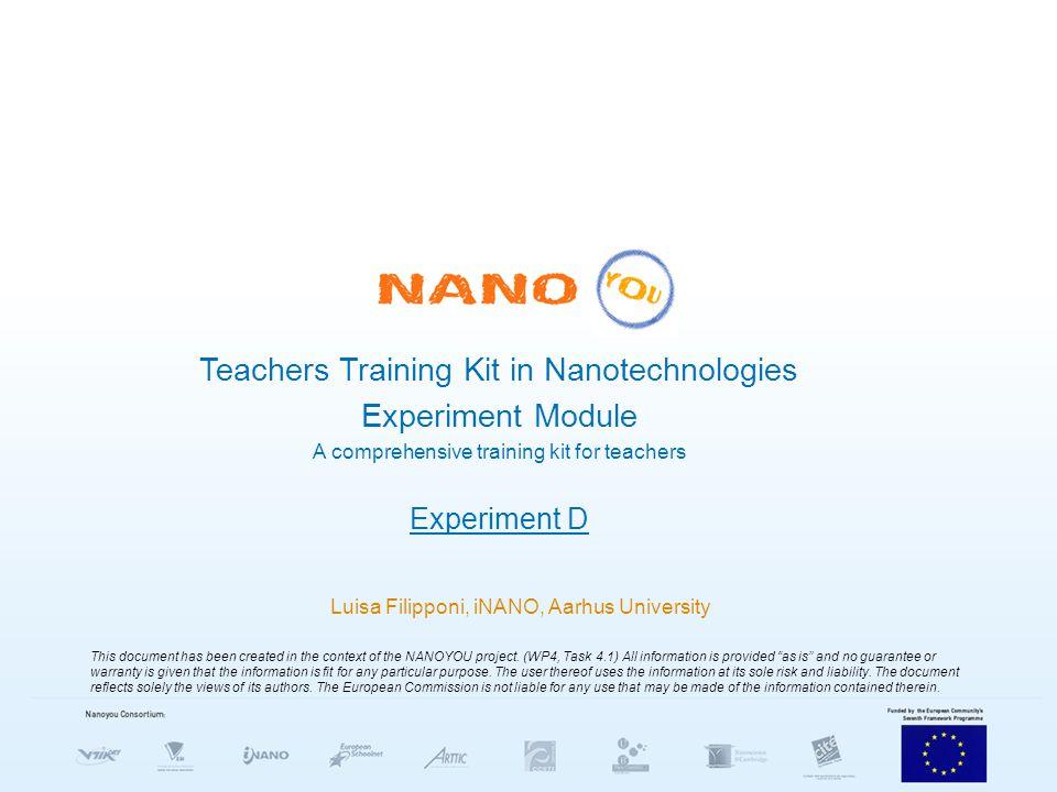 Teachers Training Kit in Nanotechnologies Experiment Module