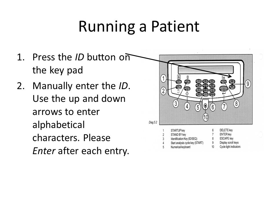Running a Patient Press the ID button on the key pad