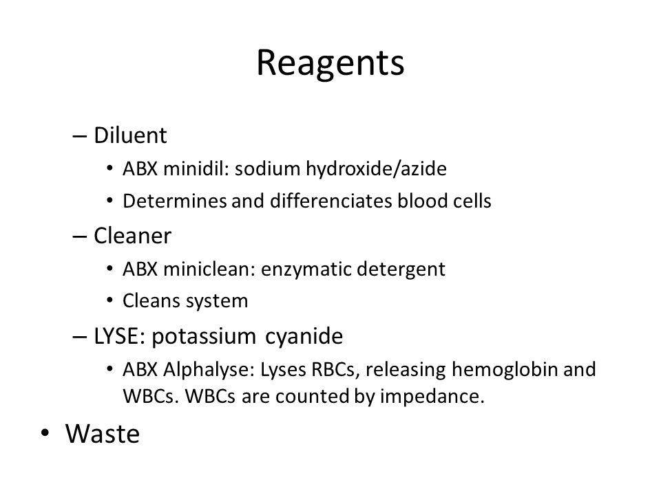 Reagents Waste Diluent Cleaner LYSE: potassium cyanide