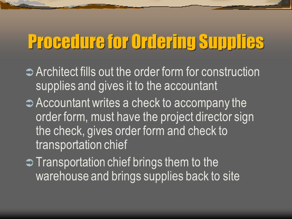 Procedure for Ordering Supplies