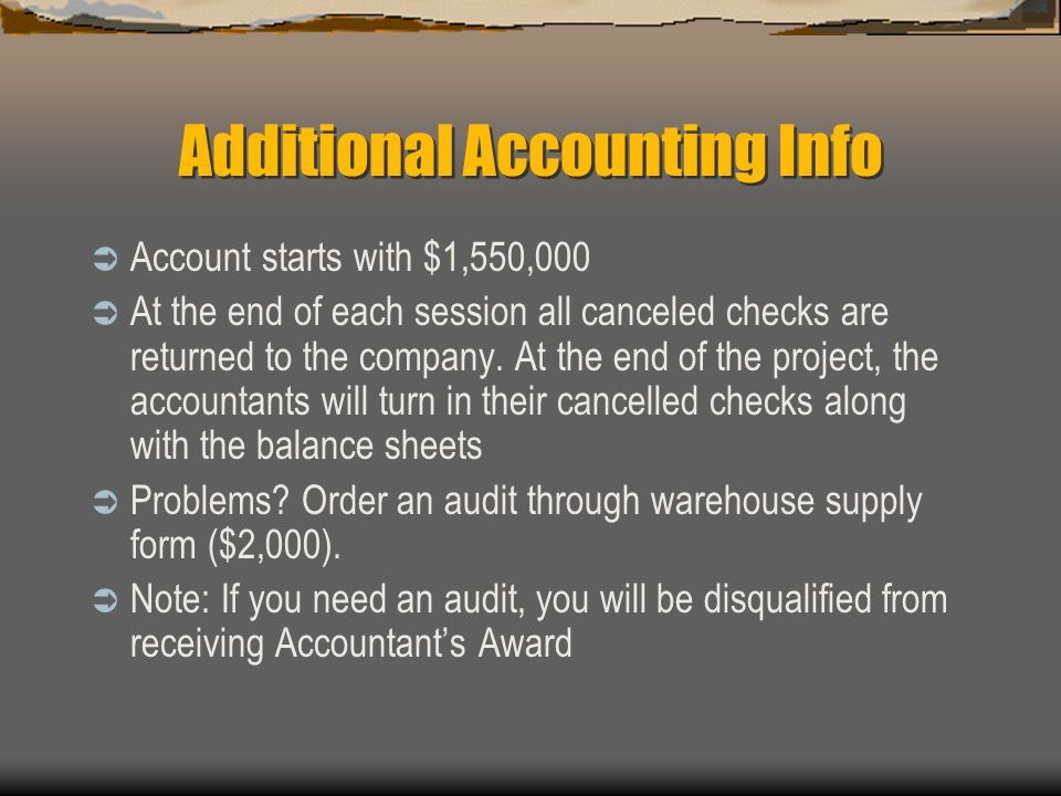 Additional Accounting Info
