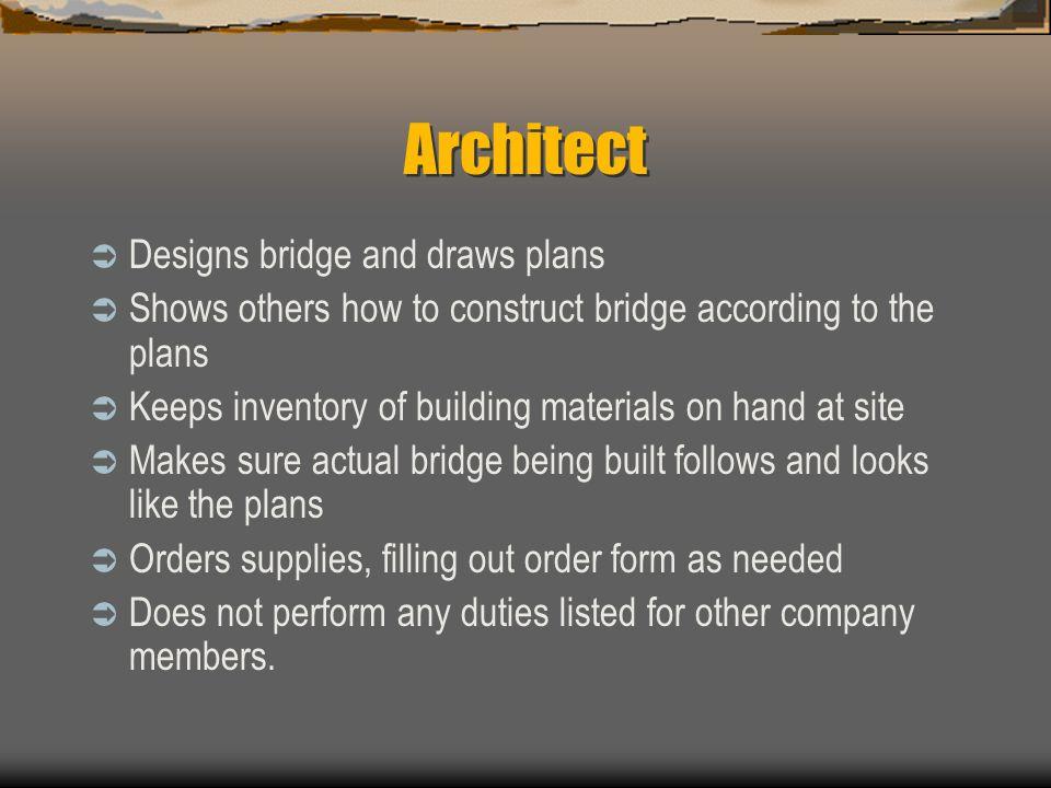 Architect Designs bridge and draws plans