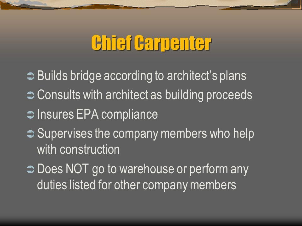Chief Carpenter Builds bridge according to architect's plans