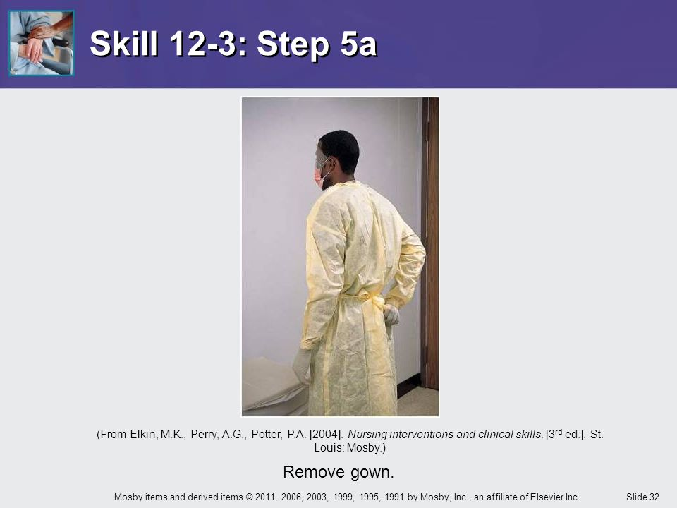 Skill 12-3: Step 5a Remove gown.