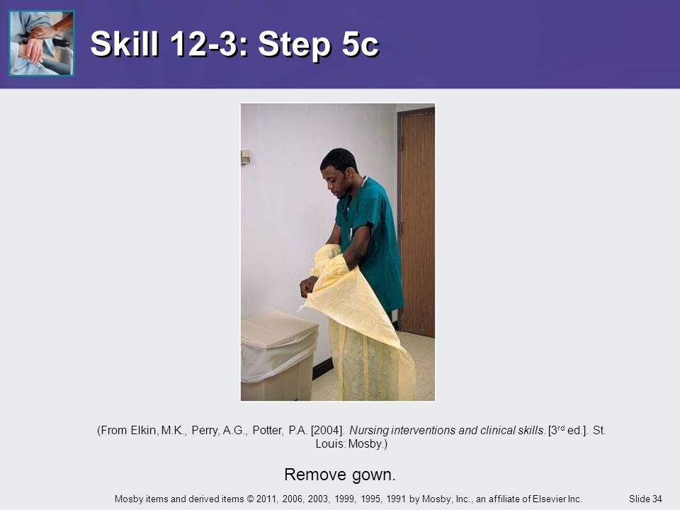 Skill 12-3: Step 5c Remove gown.