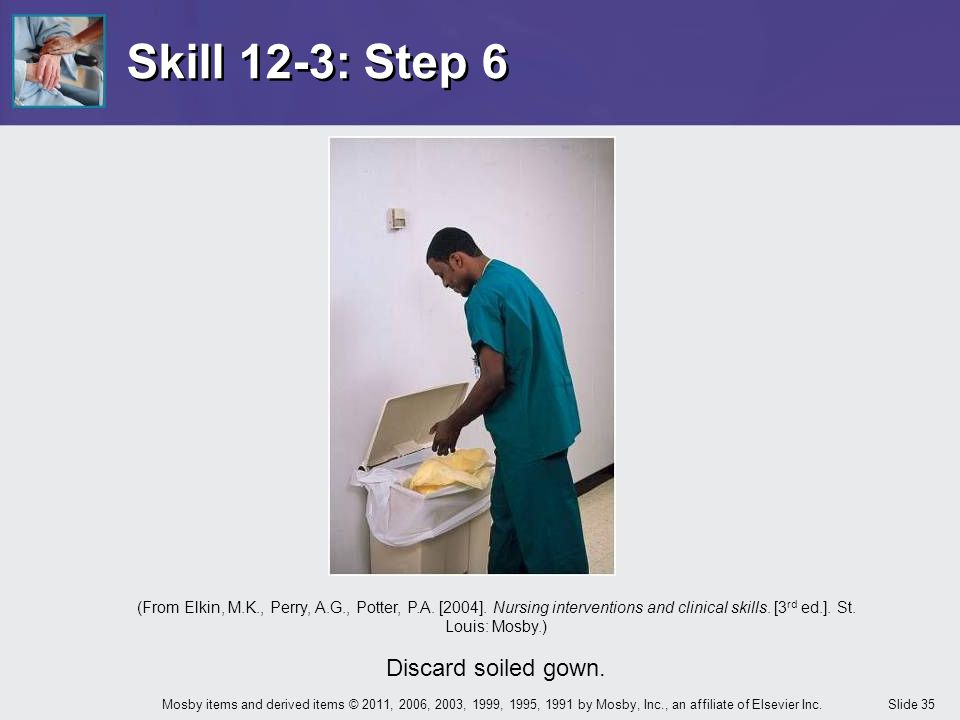 Skill 12-3: Step 6 Discard soiled gown.