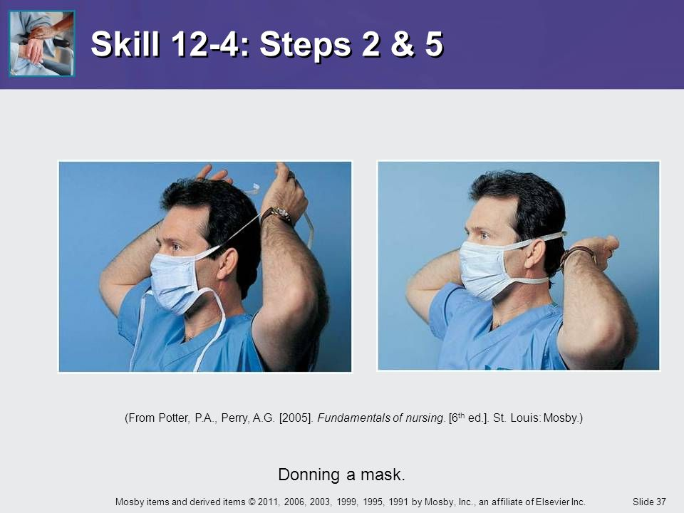 Skill 12-4: Steps 2 & 5 Donning a mask.