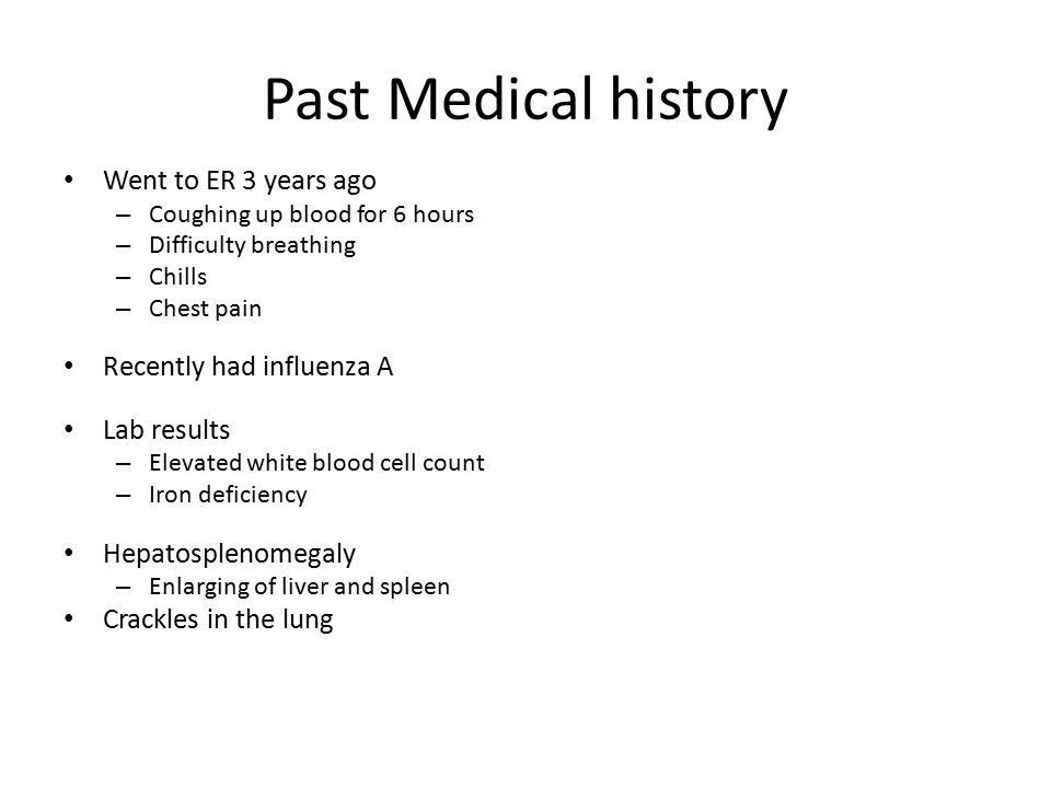Past Medical history Went to ER 3 years ago Recently had influenza A