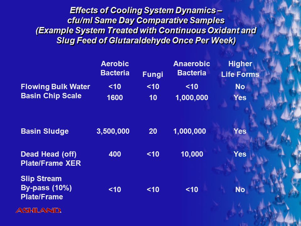 Effects of Cooling System Dynamics – cfu/ml Same Day Comparative Samples (Example System Treated with Continuous Oxidant and Slug Feed of Glutaraldehyde Once Per Week)