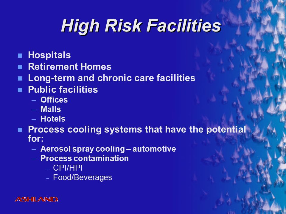 High Risk Facilities Hospitals Retirement Homes
