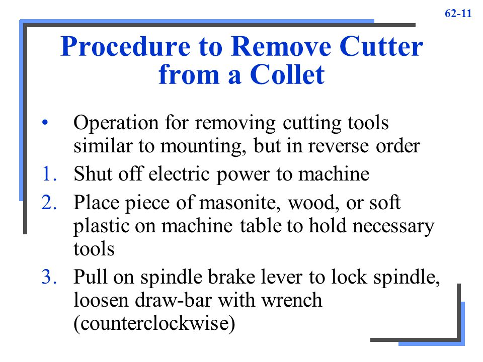 Procedure to Remove Cutter from a Collet
