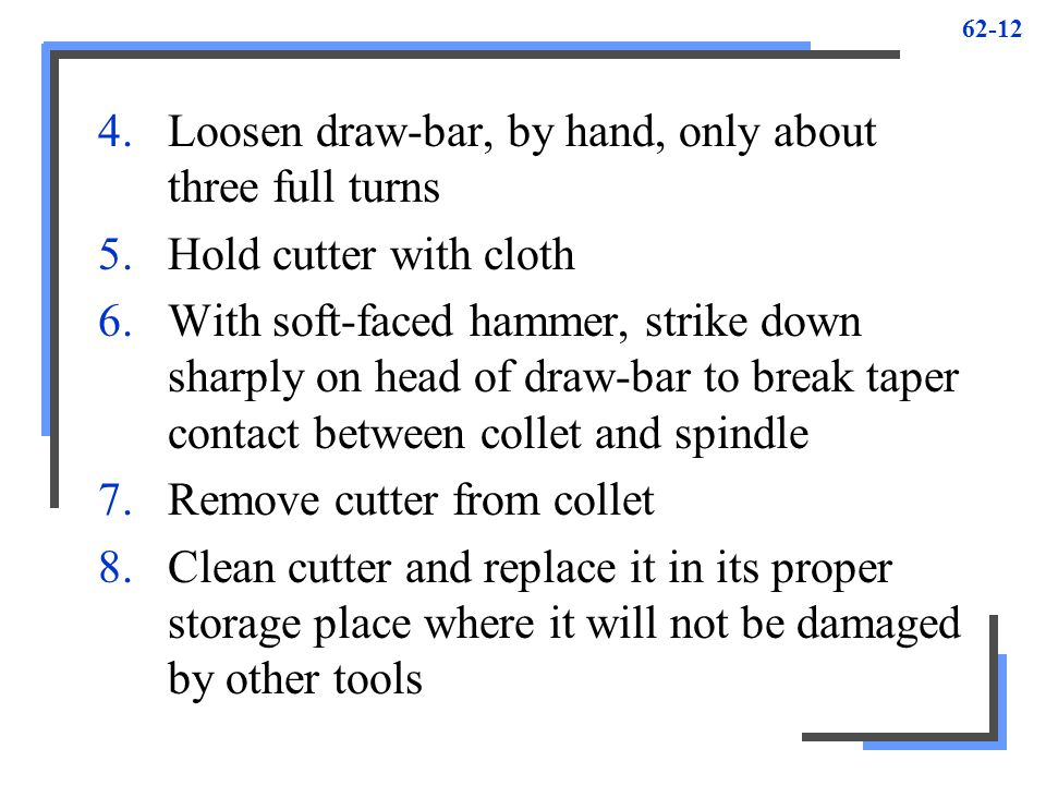 Loosen draw-bar, by hand, only about three full turns