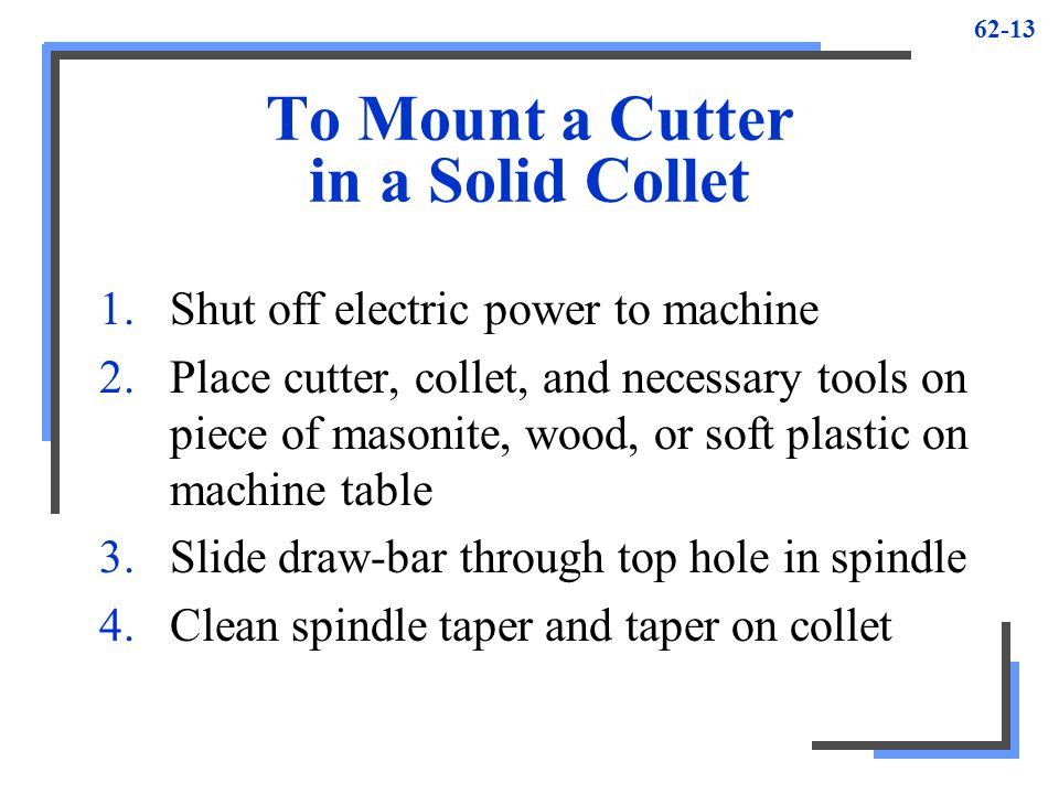 To Mount a Cutter in a Solid Collet