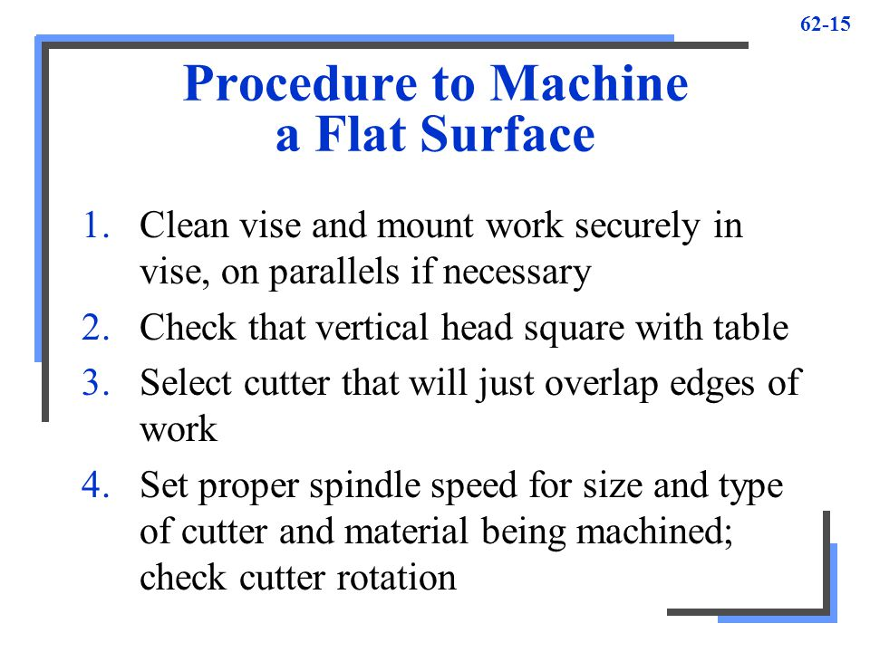Procedure to Machine a Flat Surface