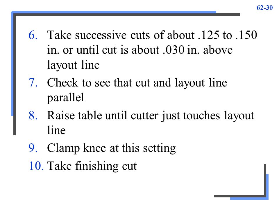 Check to see that cut and layout line parallel