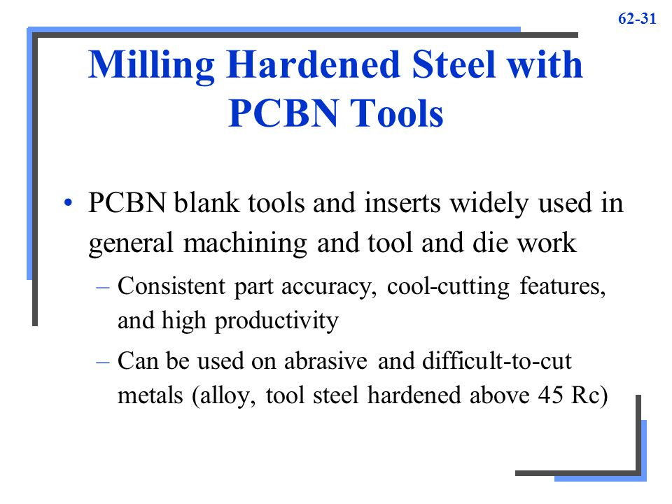 Milling Hardened Steel with PCBN Tools