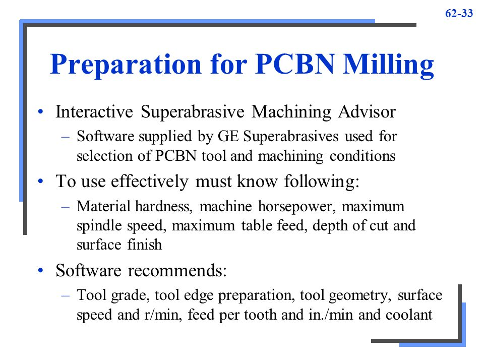 Preparation for PCBN Milling