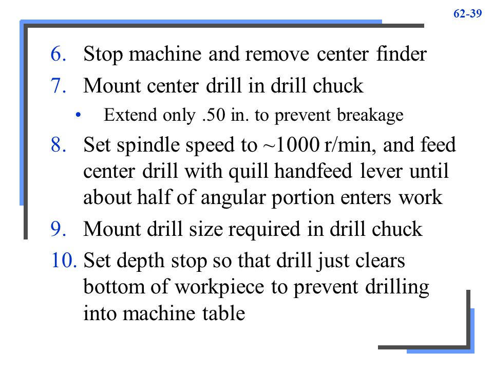 Stop machine and remove center finder