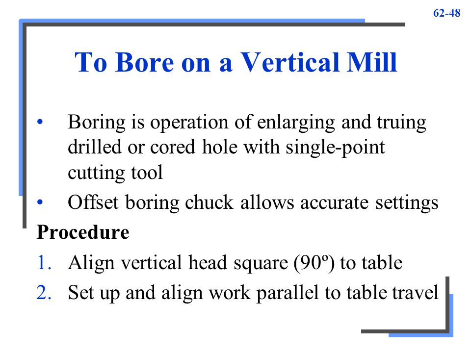 To Bore on a Vertical Mill