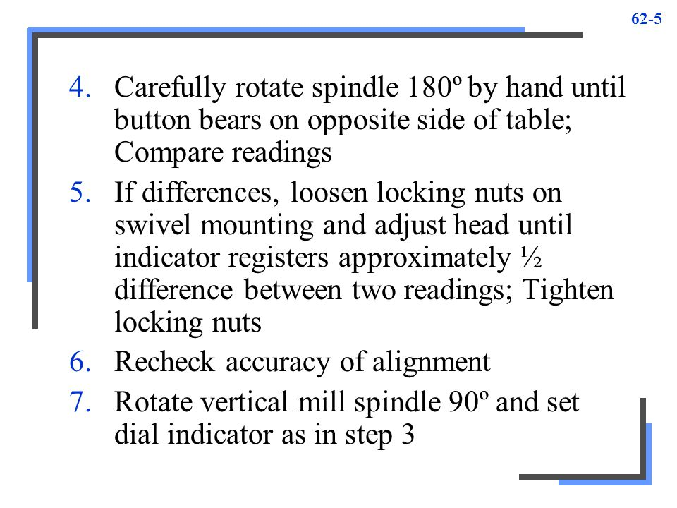 Carefully rotate spindle 180º by hand until button bears on opposite side of table; Compare readings