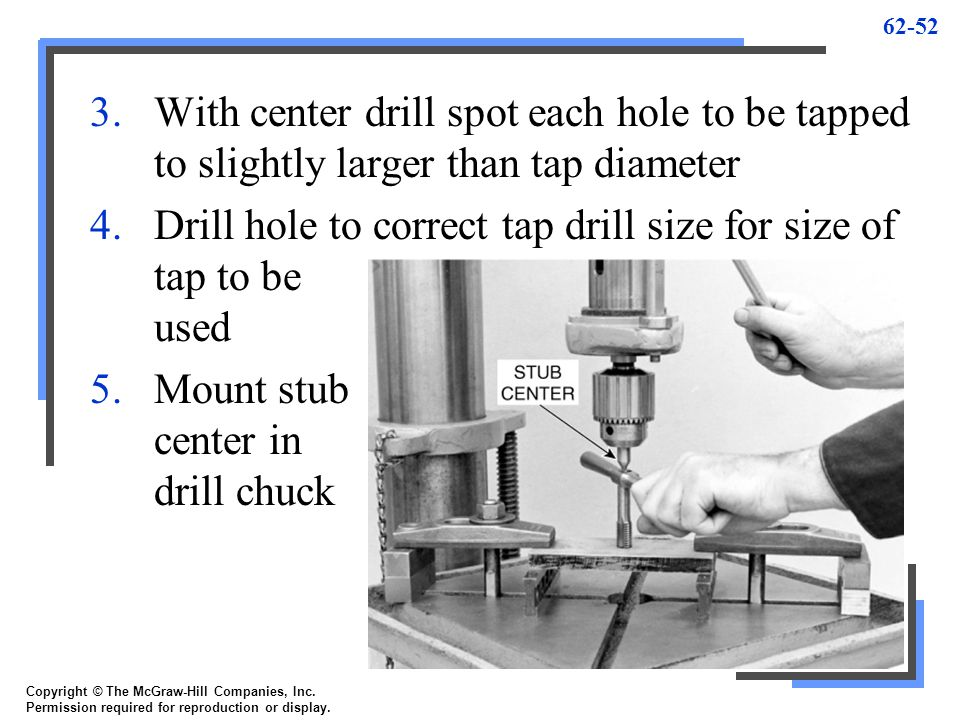 Drill hole to correct tap drill size for size of tap to be used