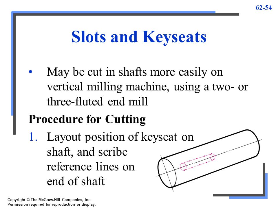 Slots and Keyseats May be cut in shafts more easily on vertical milling machine, using a two- or three-fluted end mill.
