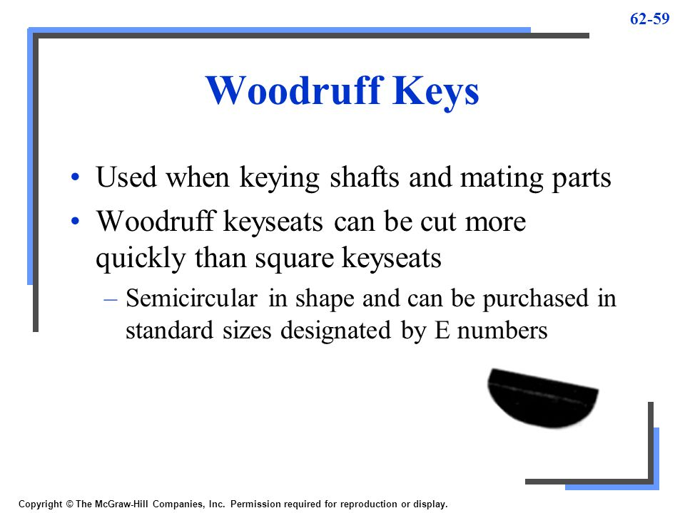 Woodruff Keys Used when keying shafts and mating parts