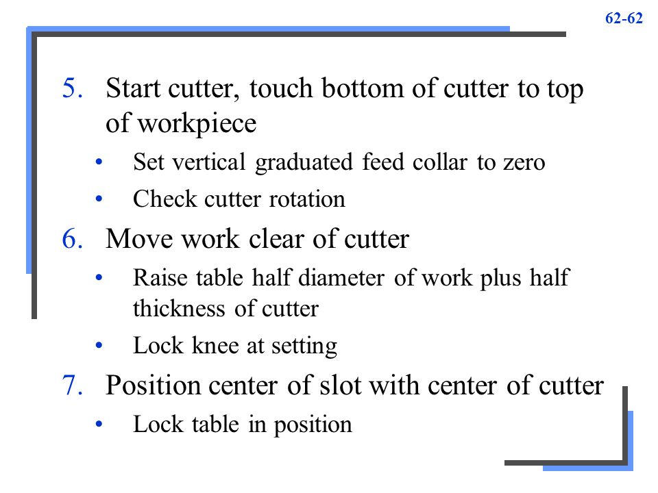 Start cutter, touch bottom of cutter to top of workpiece