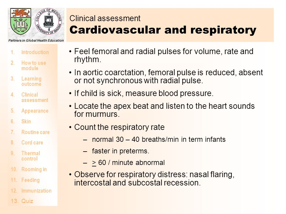 Clinical assessment Cardiovascular and respiratory