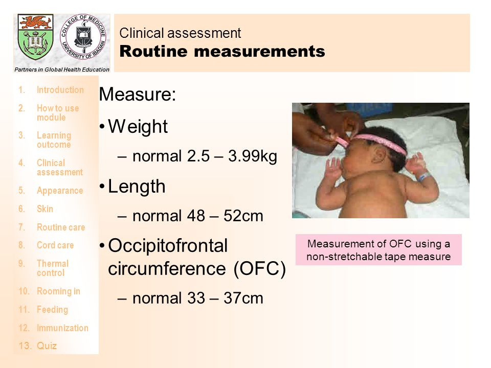 Clinical assessment Routine measurements