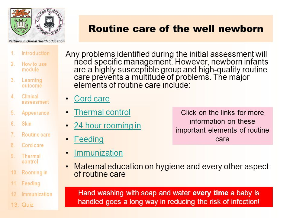 Routine care of the well newborn