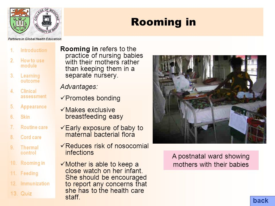 A postnatal ward showing mothers with their babies