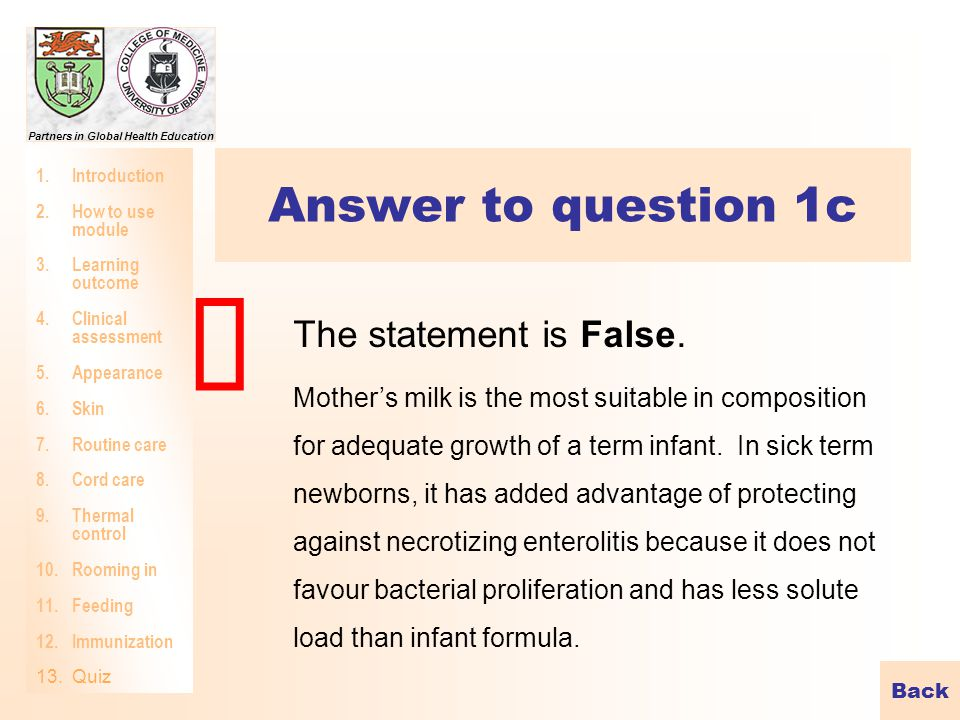 û Answer to question 1c The statement is False.