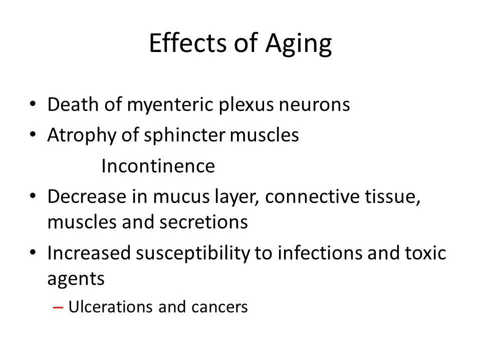 Effects of Aging Death of myenteric plexus neurons