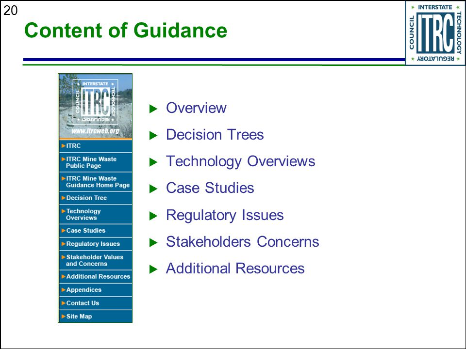 Content of Guidance Overview Decision Trees Technology Overviews