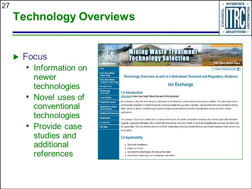 Technology Overviews Focus Information on newer technologies