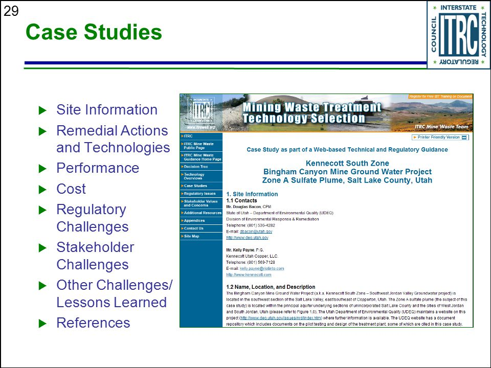 Case Studies Site Information Remedial Actions and Technologies