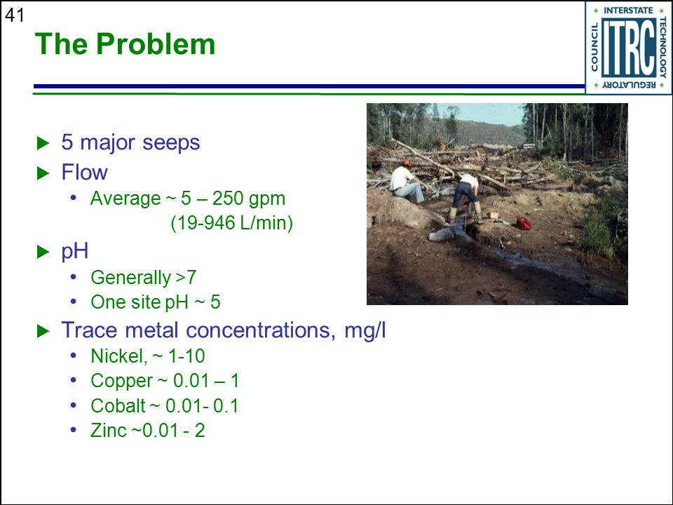 The Problem 5 major seeps Flow pH Trace metal concentrations, mg/l
