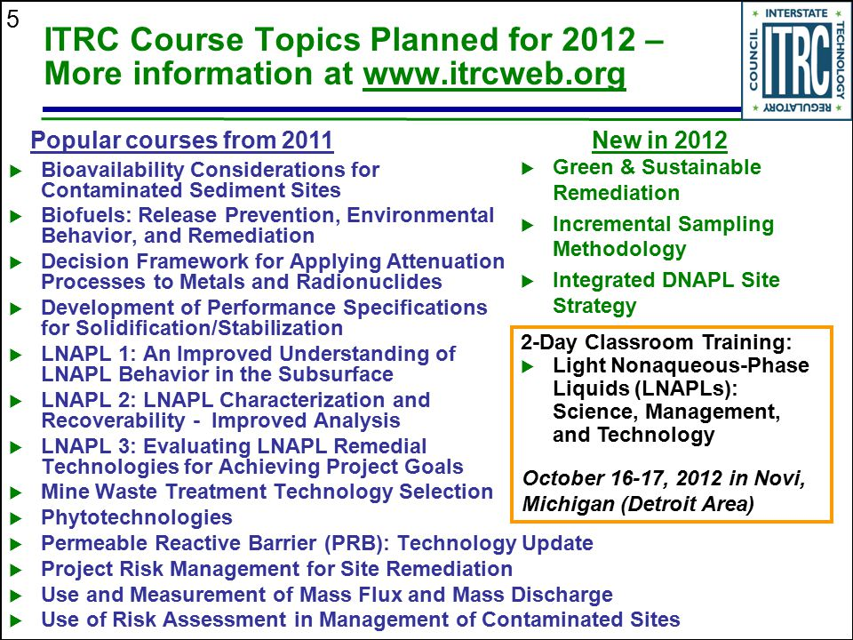 ITRC Course Topics Planned for 2012 – More information at www. itrcweb
