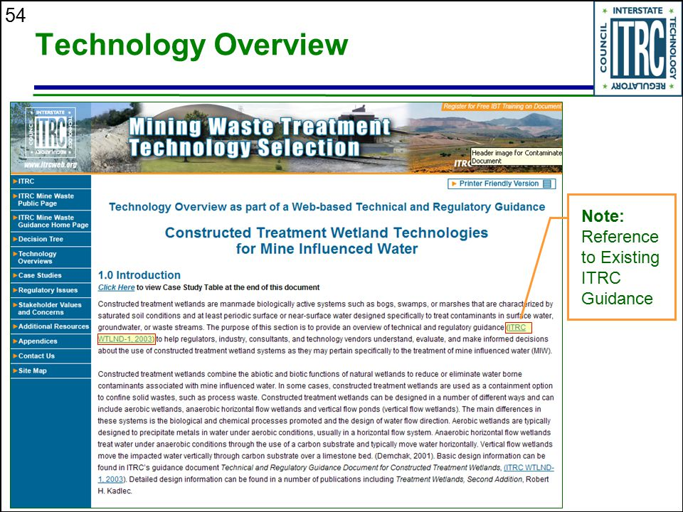 Technology Overview Note: Reference to Existing ITRC Guidance