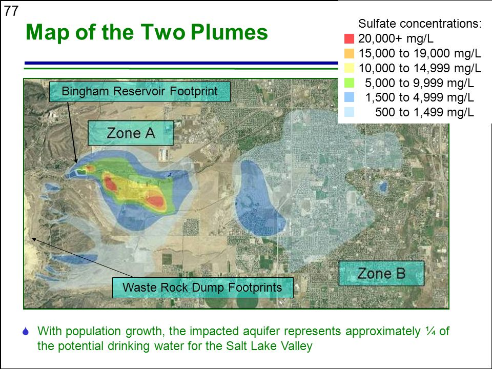 Map of the Two Plumes Sulfate concentrations: 20,000+ mg/L