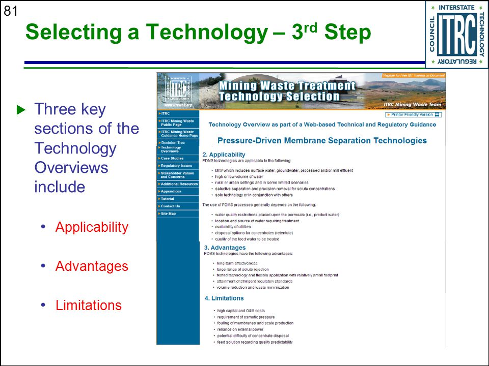 Selecting a Technology – 3rd Step