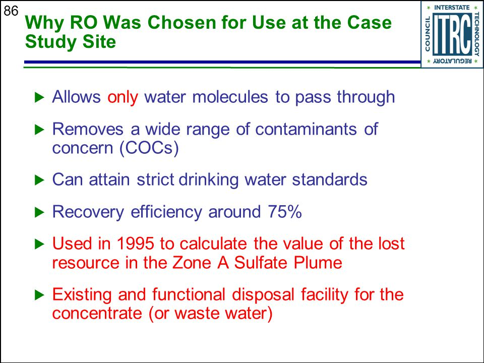 Why RO Was Chosen for Use at the Case Study Site